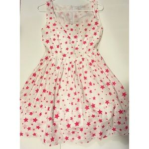 Girly White Juniors Flare Dress With Pink Stars